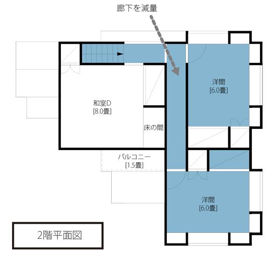 減量住宅の間取り図。青色に塗られた部分が住人(飯名さん)にとっての理想体型